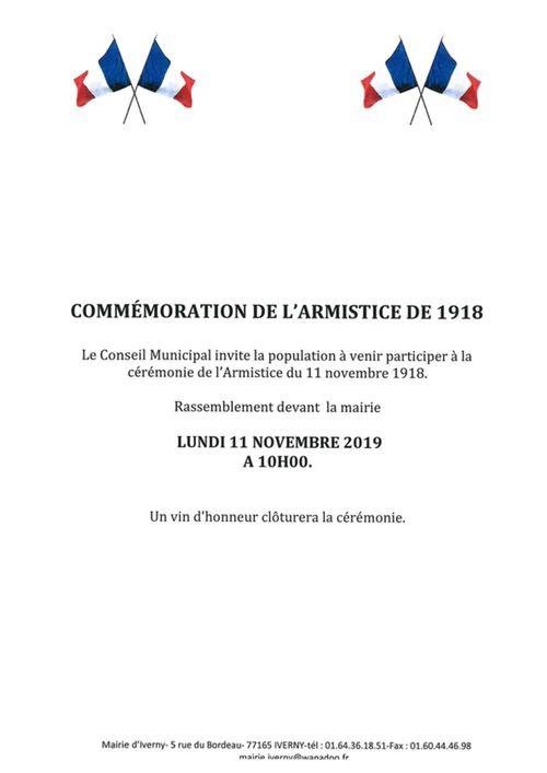 COMMÉMORATION DE L'ARMISTICE