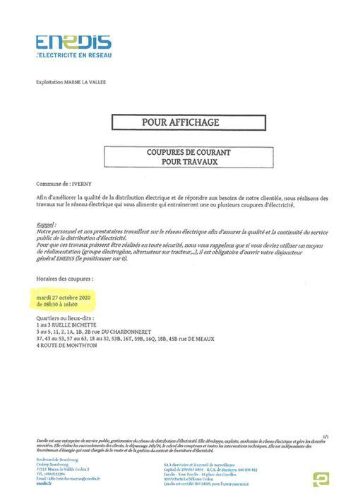 COUPURE DE COURANT POUR TRAVAUX