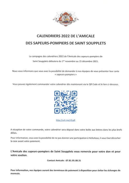 CALENDRIERS 2022 DES SAPEURS-POMPIERS